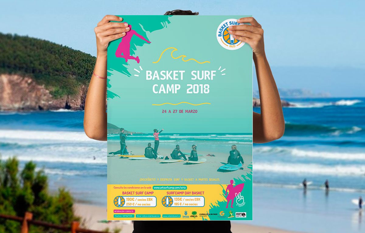 Cartel Basket Surf Camp 2018 Carballo Razo para Art Surf Camp